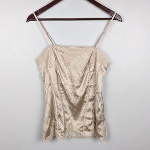WHBM | Silk Stretch Lace Cream Camisole Size Small